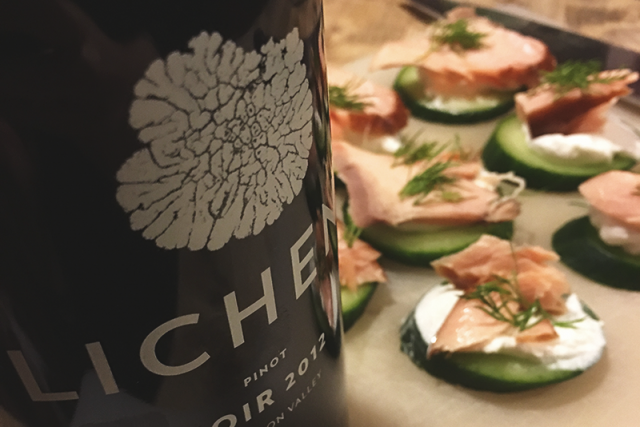 Lichen Pinot Noir with Salmon and Cucumber.